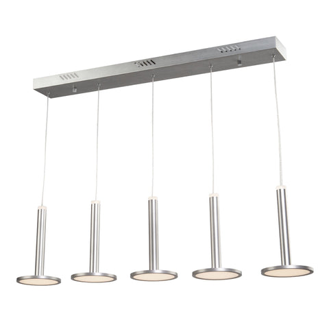 "Aurora 39""w Brushed Aluminum Linear Island Pendant Light"