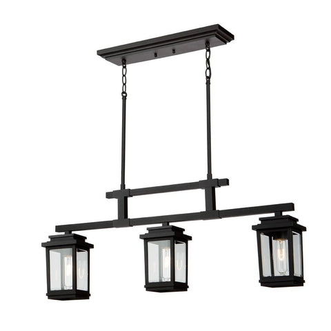 "Freemont 35""w Black Outdoor Linear Ceiling Chandelier"