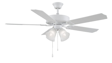 "Aire Decor 52"" Ceiling Fan - Matte White with Light Kit"