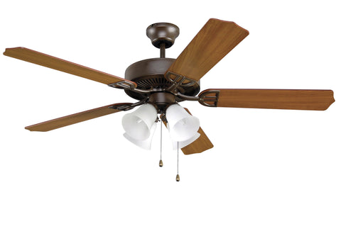 "Aire Decor 52"" Ceiling Fan - Bronze with Frosted Glass Bowl Light Kit"