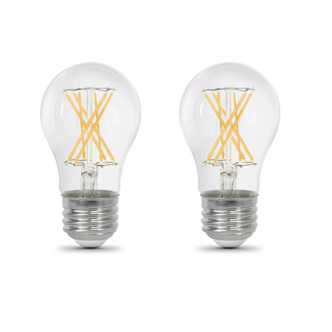 LED A15 60W Equiv., 800 Lumens, Filament Clear Glass, Medium Base, 2700K, 2 Pk,  CEC Compliant