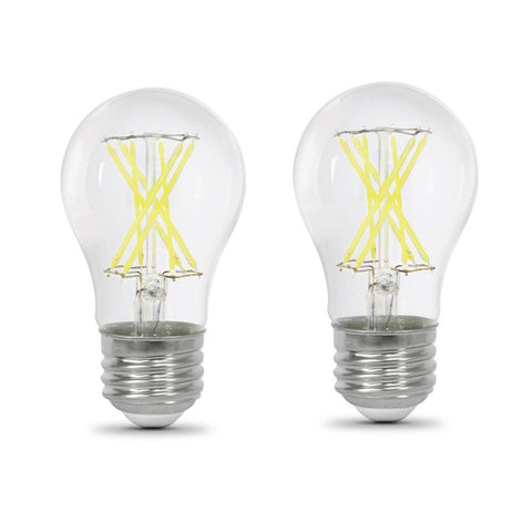 LED A15 60W Equiv., 800 Lumens, Filament Clear Glass, Medium Base, 5000K, 2 Pk,  CEC Compliant