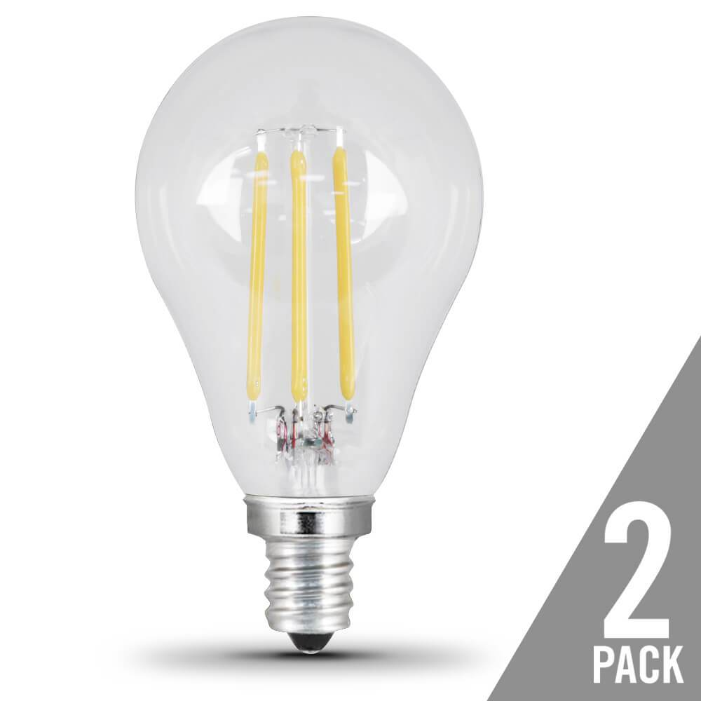 A15 Filament LED, 60 Watt Equiv., Dimmable, Clear, Candelabra Base, 500 Lumen, 5000K, 2 Pk Bulbs Feit Electric