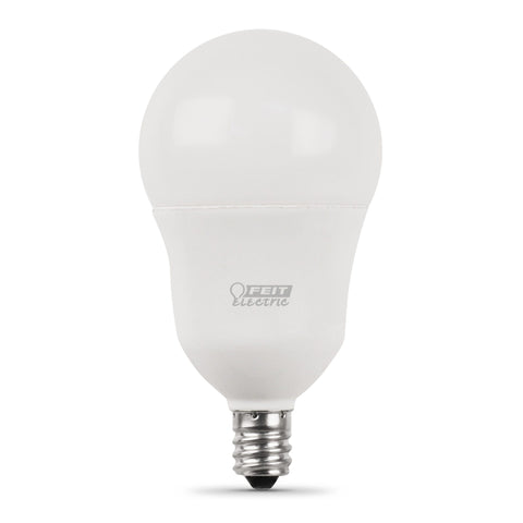 LED A15 60W Equiv., 800 Lumens, Filament White Glass, Candelabra, 2700K, 2 Pk,  CEC Compliant