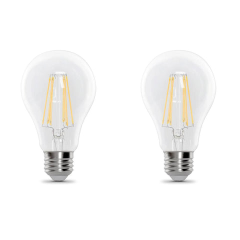 LED A19 40W Equiv., 450 Lumens, Filament Clear Glass, Medium Base, 2700K,  2 PK