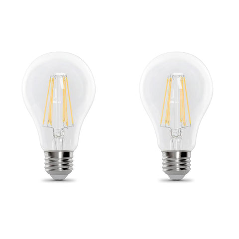 LED A19 40W Equiv., 450 Lumens, Filament Clear Glass, Medium Base, 5000K,  2 PK