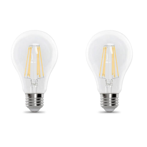 LED A19 60W Equiv., 750 Lumens, Filament Clear Glass, Medium Base, 5000K, 2 PK