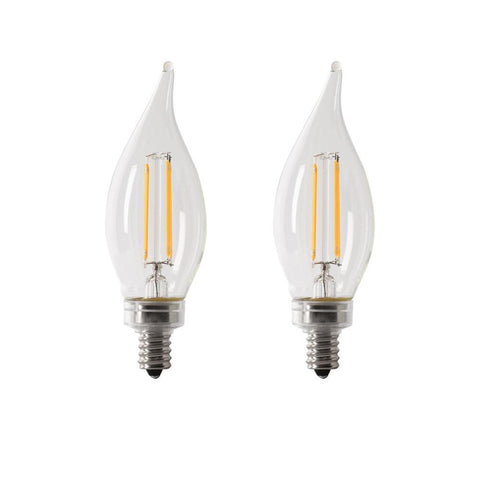 LED B10 40W Equiv. Dimmable Filament Candelabra Bulb - 2700K, 2 Pk Bulbs Feit Electric