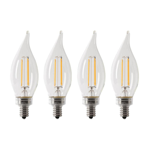 LED B10 40W Equiv. Dimmable Filament Candelabra Bulb - 2700K, 4 Pk Bulbs Feit Electric
