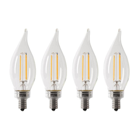 LED B10 40W Equiv. Dimmable Filament Candelabra Bulb - 5000K, 4 Pk Bulbs Feit Electric