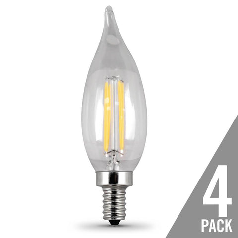 Filament LED, 40 Watt Equiv., Dimmable, Bent Tip, Candelabra Base, Clear, Decorative Bulb, 300 Lumen, 2700K, 4 Pk