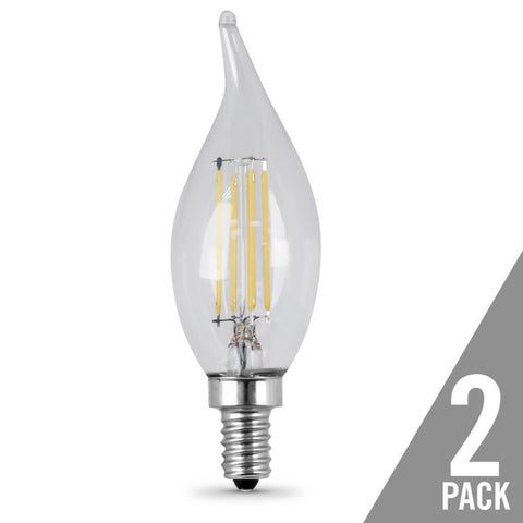 Filament LED, 40 Watt Equiv., Dimmable, Bent Tip, Candelabra Base, Clear, Decorative Bulb, 300 Lumen, 5000K, 2 Pk Bulbs Feit Electric
