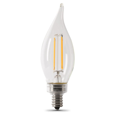 LED B10 40W Equiv., 300 Lumens,  Filament Clear Glass, Dimmable, Candelabra, 5000K,  10 Pk