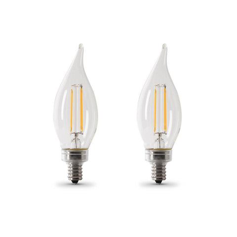 LED B10 60W Equiv. Dimmable Filament Candelabra Bulb - 2700K, 2 Pk Bulbs Feit Electric