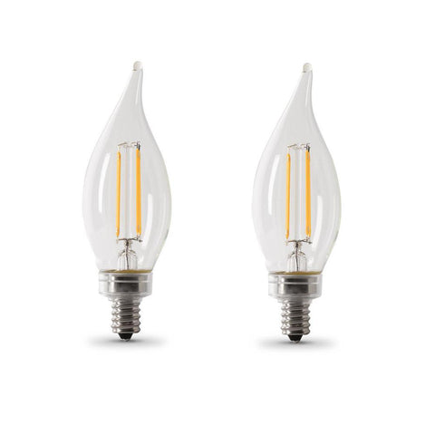 LED B10 60W Equiv. Dimmable Filament Candelabra Bulb - 5000K, 2 Pk Bulbs Feit Electric