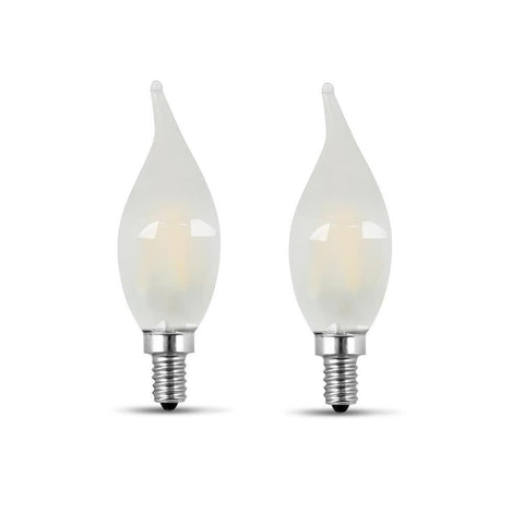 LED B10 40W Equiv. Dimmable Candelabra Bulb - 5000K, 2 Pk Bulbs Feit Electric