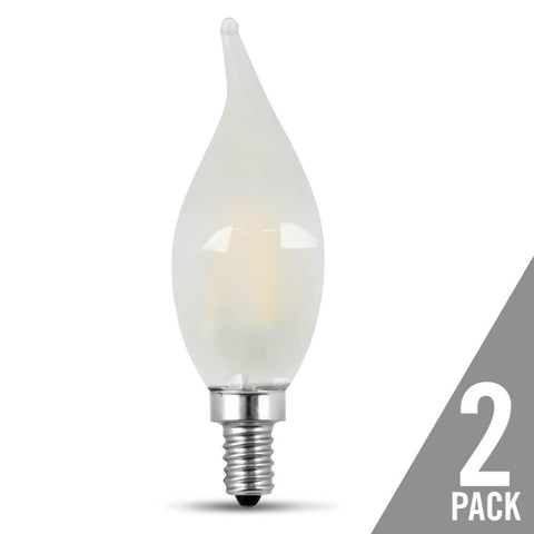 Filament LED, 40 Watt Equiv., Dimmable, Bent Tip, Candelabra Base, Frost , Decorative Bulb, 300 Lumen, 5000K, 2 Pk Bulbs Feit Electric