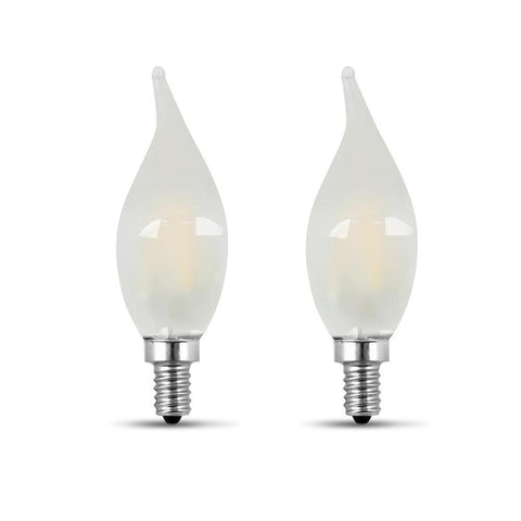 LED B10 60W Equiv. Dimmable Candelabra Bulb - 2700K, 2 Pk Bulbs Feit Electric
