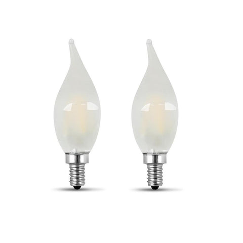 LED B10 60W Equiv. Dimmable Candelabra Bulb - 5000K, 2 Pk Bulbs Feit Electric