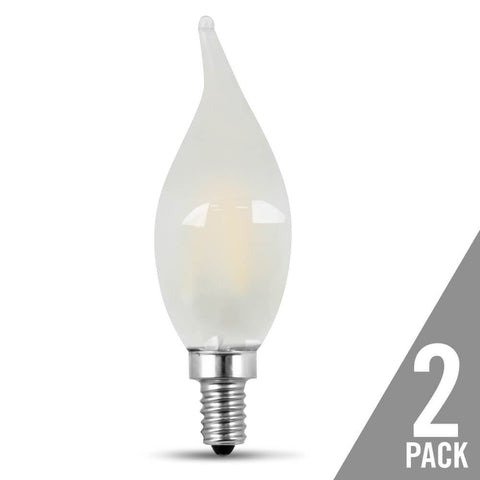 Filament LED, 60 Watt Equiv., Dimmable, Bent Tip, Candelabra Base, Frost, Decorative Bulb, 500 Lumen, 5000K, 2 Pk Bulbs Feit Electric