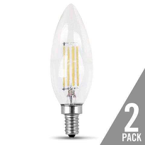 Filament LED, 25 Watt Equiv., Dimmable, Torpedo Tip, Candelabra Base, Clear, Decorative Bulb, 200 Lumen, 2700K, 2 Pk Bulbs Feit Electric