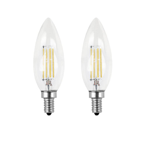 LED B11 40W Equiv. Dimmable Clear Filament Candelabra Bulb - 2700K, 2 Pk Bulbs Feit Electric