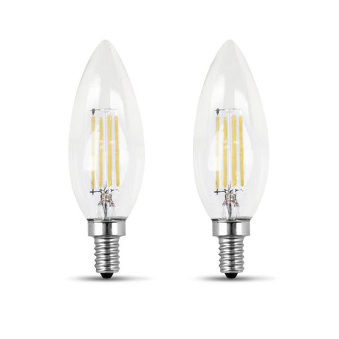 LED B11 60W Equiv. Dimmable Clear Filament Candelabra Bulb - 2700K, 2 Pk Bulbs Feit Electric