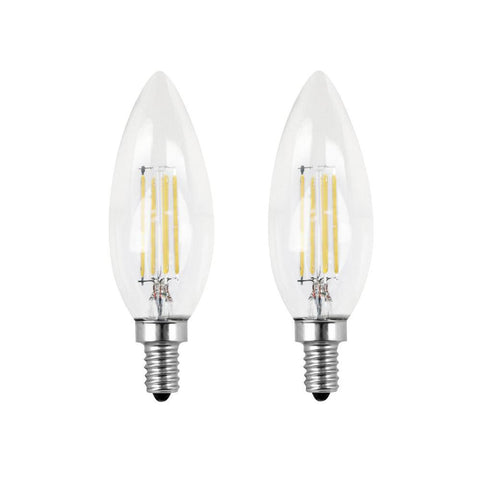 LED B11 60W Equiv. Dimmable Clear Filament Candelabra Bulb - 5000K, 2 Pk Bulbs Feit Electric