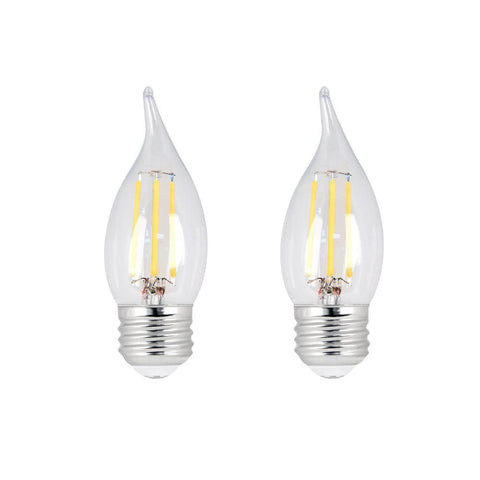 LED B10 40W Equiv. Dimmable Clear Filament E26 Bulb - 2700K, 2 pk Bulbs Feit Electric