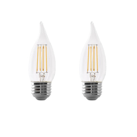 LED B10 40W Equiv. Dimmable Clear Filament E26 Bulb - 5000K, 2 pk Bulbs Feit Electric