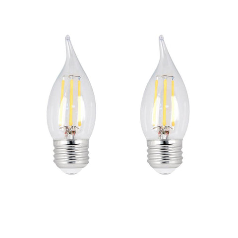 LED B10 60W Equiv. Dimmable Clear Filament E26 Bulb - 2700K, 2 Pk Bulbs Feit Electric