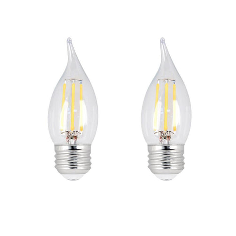 LED B10 60W Equiv. Dimmable Clear Filament E26 Bulb - 5000K, 2 Pk Bulbs Feit Electric