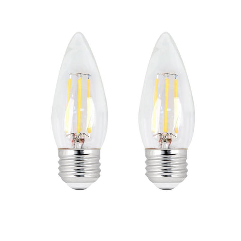 LED B11 40W Equiv. Dimmable Clear Filament E26 Bulb - 2700K, 2 PK Bulbs Feit Electric