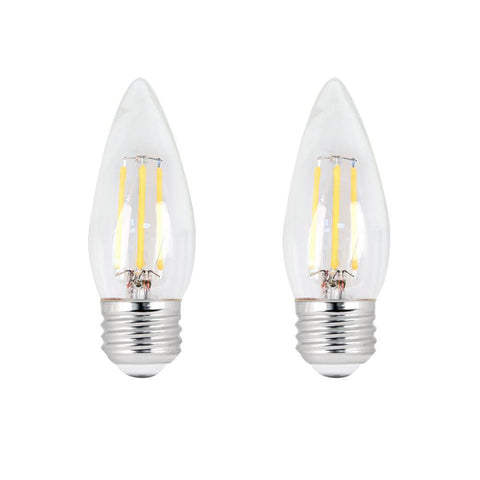 LED B11 40W Equiv. Dimmable Clear Filament E26 Bulb - 5000K, 2 PK Bulbs Feit Electric