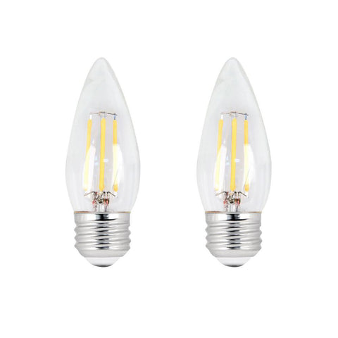 LED B11 60W Equiv. Dimmable Clear Filament E26 Bulb - 2700K, 2 PK Bulbs Feit Electric