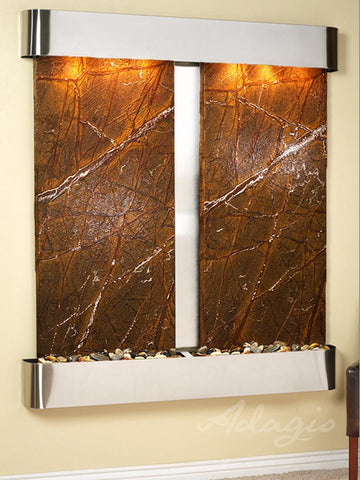 Cottonwood Falls Round - Stainless Steel - Brown Marble