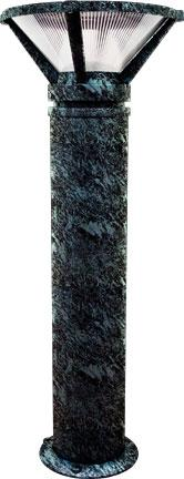 "Cast Aluminum 40""h Bollard - Verde Green - Multiple Lamp Options"