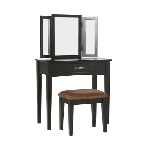 Wayona 1-Drawer Vanity & Stool Set Black Furniture Enitial Lab