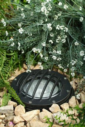 Cast Aluminum In-Ground Well Light with Grill and PVC Sleeve - Black Outdoor Dabmar