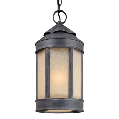 Andersons Forge 1 Light Hanging Lantern Large - Antique Iron Outdoor Troy