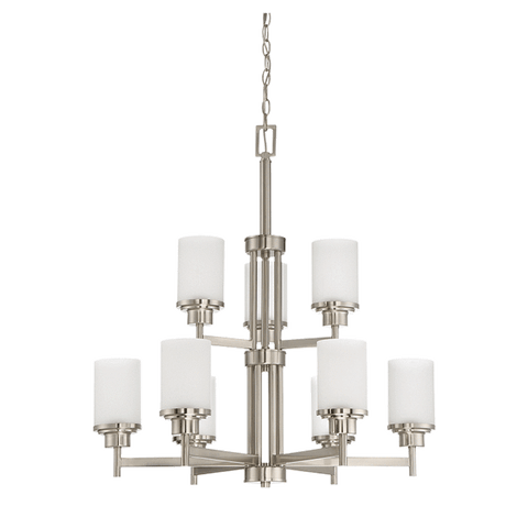 9-Light Somes 2-Tier Chandelier With Linen Glass