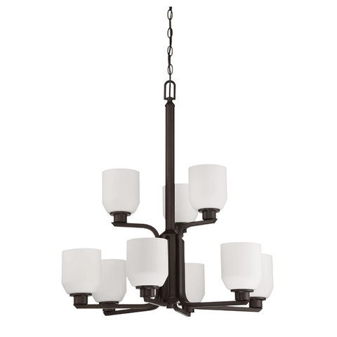 9-Light Quartz 2-Tier Chandelier With Opal Glass