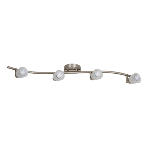 "Brushed Nickel 34""w LED Ceiling Rail Fixture with Frosted Glass Tracks Luminance Nickel"
