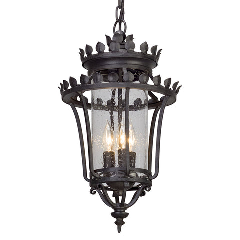 Greystone 3 Light Hanger Lantern Medium - Forged Iron Outdoor Troy