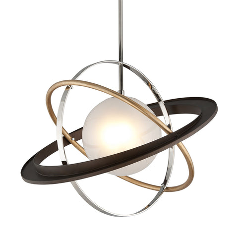 Apogee 1 Light Pendant Large - Bronze Gold Leaf And Stainless Ceiling Troy