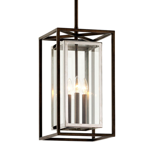 Morgan 3 Light Hanger - Bronze With Polished Stainless Outdoor Troy