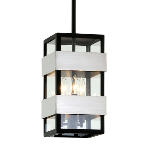 Dana Point 3 Light Hanger - Black With Brushed Stainless Outdoor Troy