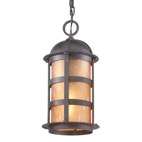 Aspen 1 Light Hanging Lantern Large - Natural Bronze