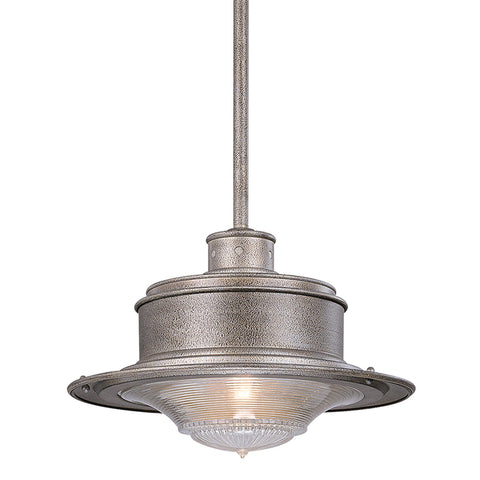South Street 1 Light Hanging Downlight Large Old Galvanized - Old Galvanized Outdoor Troy