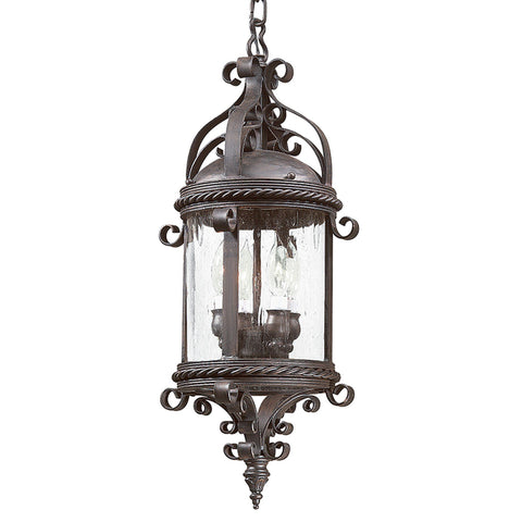 Pamplona 4 Light Hanging Lantern Large - Old Bronze Outdoor Troy